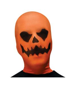 Fun World Halloween Evil Pumpkin Face Stocking Mask, One-Size, Orange