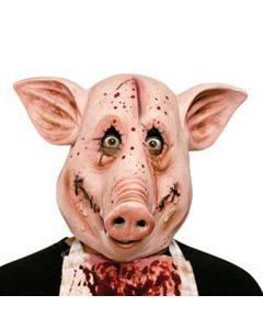Fun World Halloween Scary Psycho Butcher Pig Face Mask, Pink, Adult Size