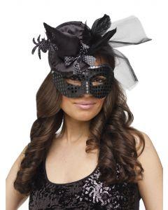 Fun World Sexy Rich Witch Masquerade Venetian Mask, One-Size, Black