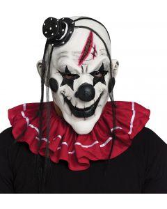 Fun World Halloween Horror Purge Clown Latex Mask, One Size, White Black