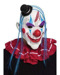 Fun World Halloween Horror Purge Clown Latex Mask, One Size, White Blue