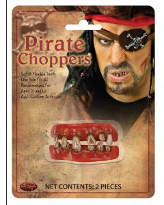 Fun World Pirate Choppers Costume Accessory 2pc False Teeth, One-Size, Brown Red