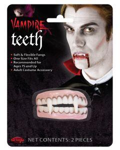 Fun World Vampire Dracula Fangs 2pc False Teeth, One-Size, White Pink