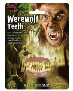 Fun World Halloween Werewolf Costume FX 2pc False Teeth, One-Size, Brown Yellow