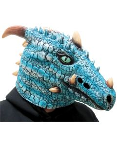 Fun World Undead Ice Dragon Halloween Over Head Mask, One-Size, Blue White