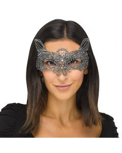 Fun World Halloween Gothic Lace Cat Costume Venetian Mask, One-Size, Silver
