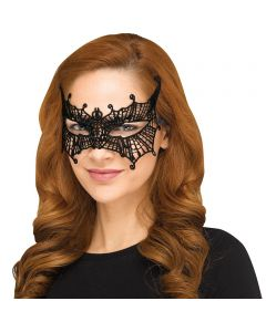 Fun World Halloween Gothic Lace Bat Costume Venetian Mask, One-Size, Black