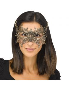 Fun World Halloween Gothic Lace Bat Costume Venetian Mask, One-Size, Gold