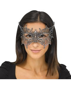 Fun World Halloween Gothic Lace Bat Costume Venetian Mask, One-Size, Silver