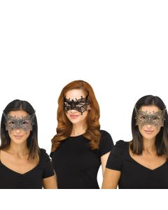 Fun World Halloween Gothic Lace Bat Costume Venetian Mask, One-Size