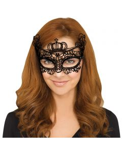 Fun World Halloween Gothic Lace Queen Costume Venetian Mask, One-Size, Black