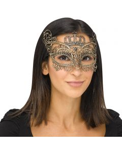 Fun World Halloween Gothic Lace Queen Costume Venetian Mask, One-Size, Gold