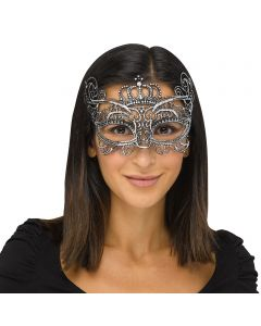 Fun World Halloween Gothic Lace Queen Costume Venetian Mask, One-Size, Silver