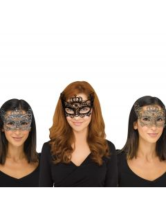 Fun World Halloween Gothic Lace Queen Costume Venetian Mask, One-Size