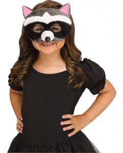 Fun World Halloween Furry Animal Raccoon Fabric Face Mask, One-Size, Black Grey