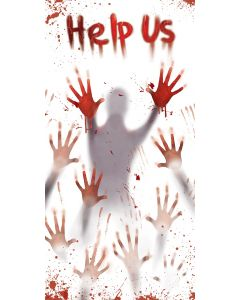 Fun World Help Us Bloody Hands Haunted House Door Cover, 5ft, White Red