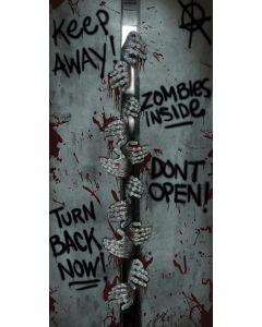 Fun World Zombies Inside Halloween Haunted House Door Cover, 5ft, Grey Black