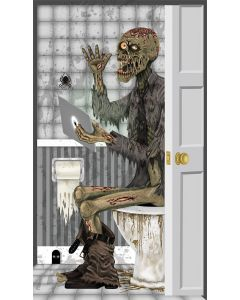Fun World Zombie On The Toilet Funny Halloween Party Door Cover, 5ft