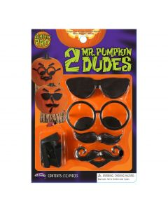Fun World Mr. Pumpkin Head Dudes Serious Stripes 12pc Pumpkin Carving Kit, Black