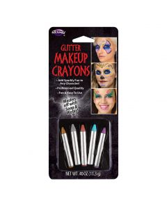 """Halloween Sparkly Glitter 5pc Face Paint Sticks, 2.25"""", Assorted Colors"""