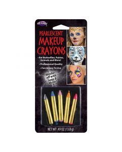"""Fun World Halloween Pearlescent 5pc Face Paint Sticks, 2.25"""", Assorted Colors"""