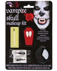 Skull Vampire Fang Halloween Costume 5pc Makeup Kit, One Size, White Black Brown