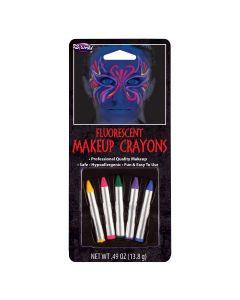 Fun World Halloween Fluorescent Neon Makeup 5pc Face Paint Sticks