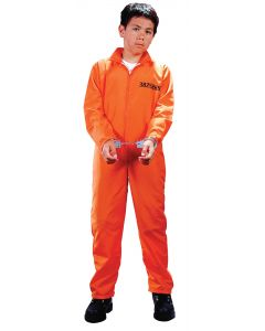 Fun World Got Busted Inmate 2pc Child Costume, Large 12-14, Orange Black