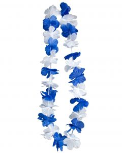 "Hawaiian Luau Party 2in Petal Fabric Flower 36"" Leis, Blue White, 24 CT"