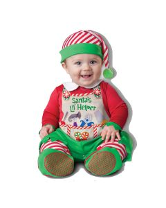 Quality Santa's Lil' Helper 3pc Infant Costume, Small 6-12 Mo, Red Green