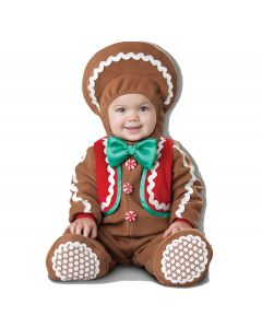 Deluxe Sweet Gingerbaby 3pc Infant Costume, Small 6-12 Mo, Brown White