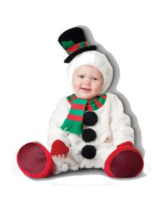 Deluxe Silly Snowman 4pc Infant Costume, Small 6-12 Mo, White Red Green