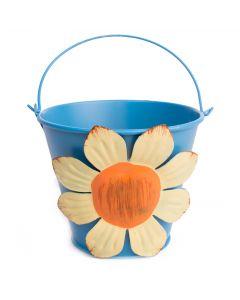 "Pastel Flower Summer Decoration Metal Bucket 4"" Decorative Planter, Blue"
