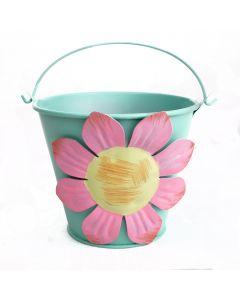 """Pastel Flower Summer Decoration Metal Bucket 4"""" Decorative Planter, Green"""