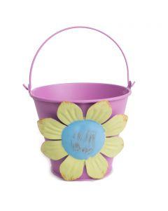 "Pastel Flower Summer Decoration Metal Bucket 4"" Decorative Planter, Purple"