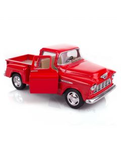 "1955 Chevy Classic Stepside Pick-Up Truck 5"" Pull Back Die Cast Model, Red"