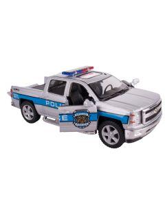 "Kinsmart 2014 Chevrolet Silverado Police 5"" Pull Back Die Cast Model, Grey Blue"