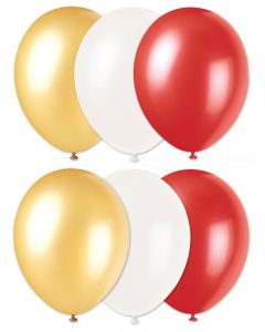 Football Team Fan Solid Party Latex Balloons, Red Gold White, 6 CT