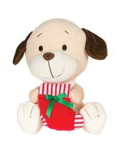 "Kelly Toy Cute Christmas Dog with Stocking 10"" Plush Animal, Tan"