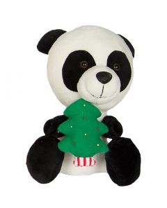 "Kelly Toy Cute Christmas Tree Panda 10"" Plush Animal, White Black"