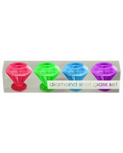 Kheper Crystal Diamond Plastic Drinking 1.5 oz Shot Glasses, 4 Pack