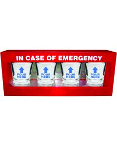 Kheper In Case of Emergency Shot Glass Set 1.5 oz Shot Glasses, 4 Pack