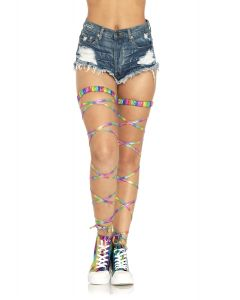 Leg Avenue Holographic Fantasy Costume Leg Wrap Garters, Rainbow, One-Size