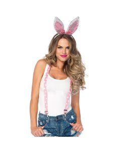 Leg Avenue Sparkle Bunny 3pc Costume Accessory Kit, Pink, One-Size