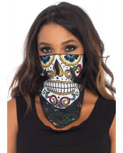 Leg Avenue Sugar Skull Bandana Costume Accessory, Black White, One-Size