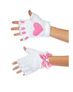 Leg Avenue Purfect Kitty Paw Fingerless Accessory Gloves, One-Size, White Pink