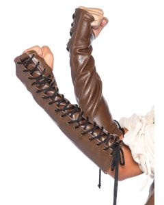 Leg Avenue Faux Leather Steampunk 2pc Arm Warmers, Brown Black, Small/Medium
