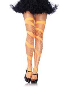 Leg Avenue Swirl Diamond Netted Thigh-Highs, Neon Orange, One-Size