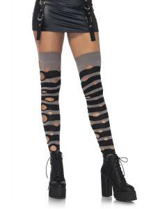 Leg Avenue Distressed Striped Raccoon Thigh-Highs, Black Grey, One-Size