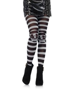Leg Avenue Skull on Knee Illusion Striped Tights, Black Grey, One-Size